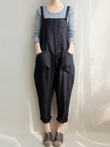 Black Pockets Buttons Mid-rise Fashion Long Jumpsuit Overall Pants