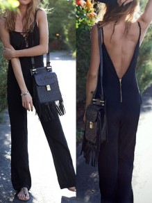 Black Zipper Backless Spaghetti Strap Lace-up High Waisted Fashion Long Jumpsuit