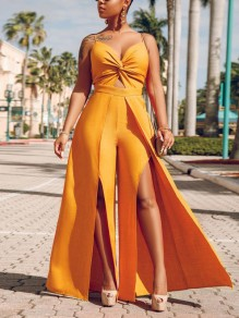 Yellow Spaghetti Strap Cross V-neck Backless Front Party Slit Wide Leg Palazzo Long Jumpsuit