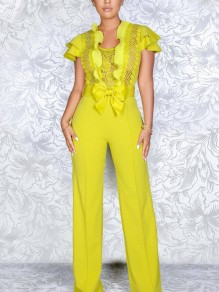 Yellow Patchwork Lace Bow Cascading Ruffle Bodycon Elegant Party Wide Leg Palazzo Long Jumpsuit