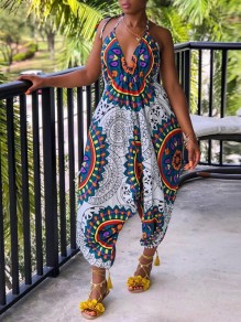 White Africa Tribal Print Bohemian V-neck Halter Neck High Waisted Harem Long Jumpsuit