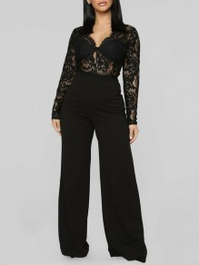 Black Patchwork Lace V-neck High Waisted Elegant Party Wide Leg Palazzo Long Jumpsuit