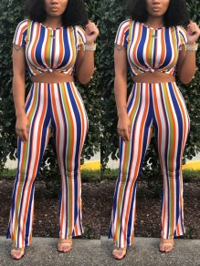 Red-Blue Striped Two Piece Bodycon Party Bell Bottomed Flares Long Jumpsuit