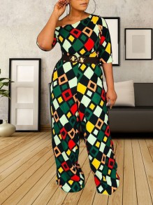Green Color Block One Off Shoulder Belt Elegant Party High Waisted Wide Leg Palazzo Long Jumpsuit