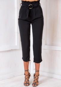 Capris pantaloni tasche con tasche in vita elegante nero
