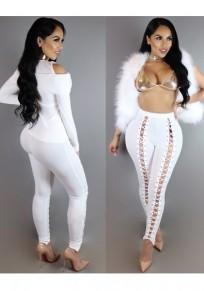 Pantaloni lunghi tagliati A vita alta incrociati incrociati bianchi