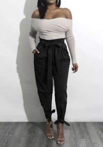 Pantaloni lunghi tinta unita tasche coulisse vita casuale nero