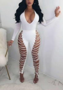 White Cross Zipper Lace-up High Waisted Clubwear Cocktail Party Long Pants