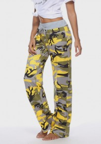Yellow Camouflage Print Drawstring High Waisted Long Pants