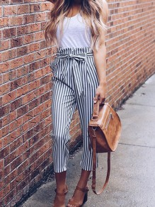 Grey Striped Print Drawstring Waist Fashion Nine's Pants