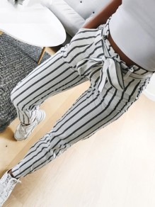 Grey Striped Print Pockets Drawstring Waist Fashion Nine's Pants