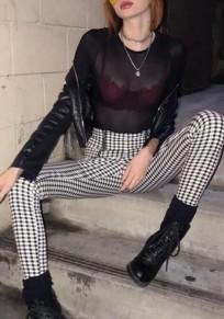 Pantaloni cerniera A stampa scozzese A vita alta che escono casuale matita skinny nero bianco