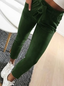 Pantaloni coulisse tasche casuale 7/8 verde