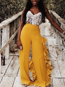 Yellow Cascading Ruffle High Waisted Wide Leg Casual Long Pants