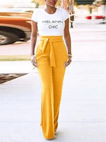 Yellow Belt Pockets High Waisted Bell Bottomed Flares Long Pant