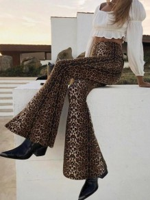 Brown Leopard Pattern High Waisted Bell Bottom Extreme Flare Boho Casual Long Pants