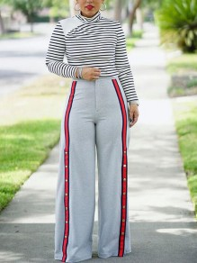 Grey Striped Buttons Slit High Waisted Casual Wide Leg Long Pants