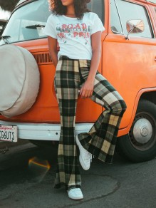 Green Plaid Side Slits Casual High Waisted Bell Bottomed Flares Long Pant