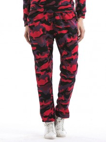 Red Camouflage Print Pockets High Waisted Casual Long Pants