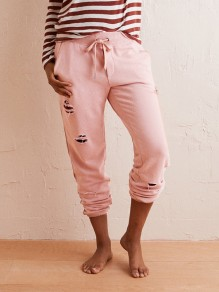 Pink Pockets Cut Out Drawstring Fashion Long Pants