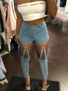 Blue Zipper Pockets Cut Out High Waisted Bodycon Denim Long Pant