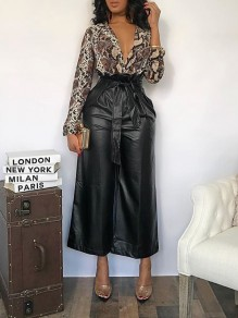 Black Pockets Latex Vinly Patent Rubber High Waisted Wide Leg Palazzo Pant