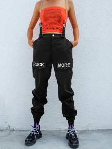 "Black ""ROCK MORE"" Print Chain Shoulder-Strap Zipper Pockets High Waisted Multi Way Casual Long Cargo Pants"