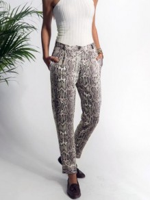 Grey Snake Skin Pattern Pockets High Waisted Haren Casual Long Pants