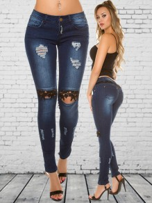 Blue Patchwork Lace Cut Out High Waisted Fashion Jean Pant