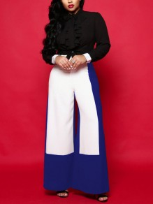 Blue-White High Waisted Elegant Work Long Wide Leg Palazzo Pant