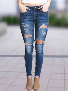 Blue Patchwork Cut Out Pockets High Waisted Fashion Jeans Pant