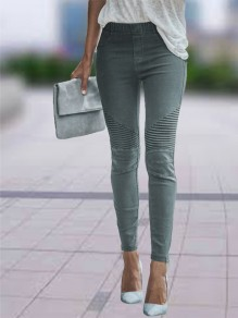 Green Patchwork Zipper High Waisted Fashion Jeans Pant