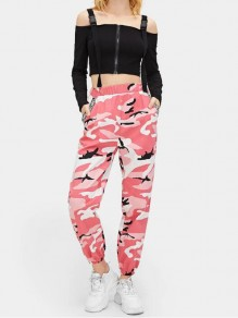 Pink Camouflage Pockets High Waisted Button Hippie Haren Casual Long Cargo Pants