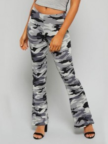 Grey Camouflage Print High Waisted Fashion Long Flare Pants