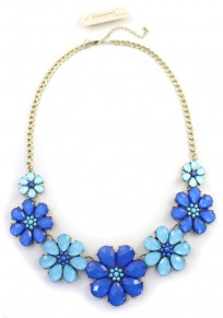 Blue Fashion Flower Alloy Chain Necklace