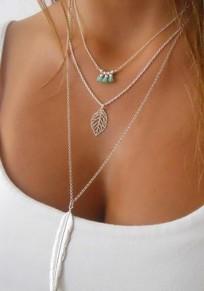 Collana del pendente lega di modo A più strati lascia piume di perline argento