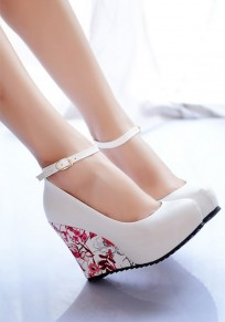 White Round Toe Wedges Floral Print Buckled Casual High-Heeled Shoes