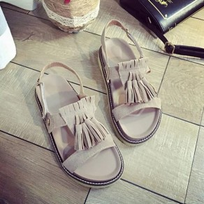 Grey Piscine Mouth Flat Tassel Fashion Ankle Sandals