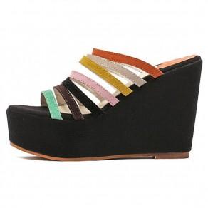 Black Piscine Mouth Wedges Casual Ankle Sandals