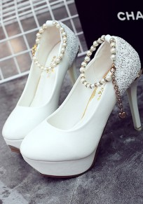 White Round Toe Stiletto Pearl Sequin Fashion High-Heeled Shoes
