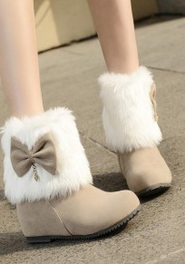 Beige Round Toe Bow Slip-On Suede Sweet Boots