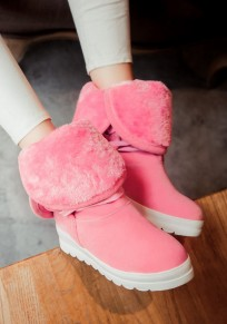 Red Round Toe Heavy-Soled Casual Mid-Calf Boots