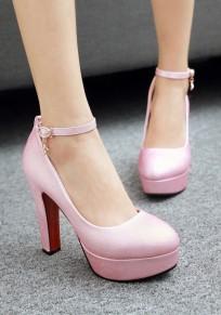 Scarpe punta rotonda grosso fibbia moda con tacco alto rosa