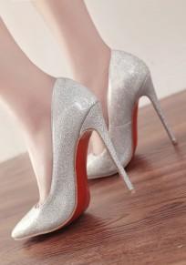 Scarpe punto di punta dello stiletto di moda di paillettes con tacco alto argento
