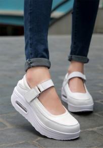 Scarpe rotondo caviglia casuale punta pesante con la suola bianco