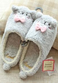 Punta tonda piatta gatto di eco-pelliccia furball carino pantofole grigio