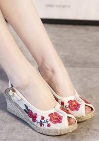 Sandali bocca piscine incunea floreale stampa casuale bianco