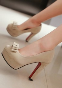 Beige Round Toe Chunky Bow Casual High-Heeled Shoes