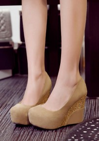 Apricot Round Toe Sequin Casual Wedges Shoes