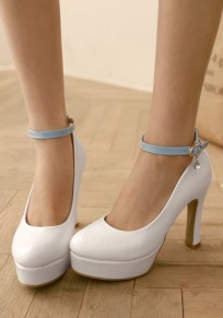 White Round Toe Chunky Casual Buckle High-Heeled Shoes